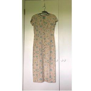 Vintage 90s Liz Claiborne Button Down Floral Dress